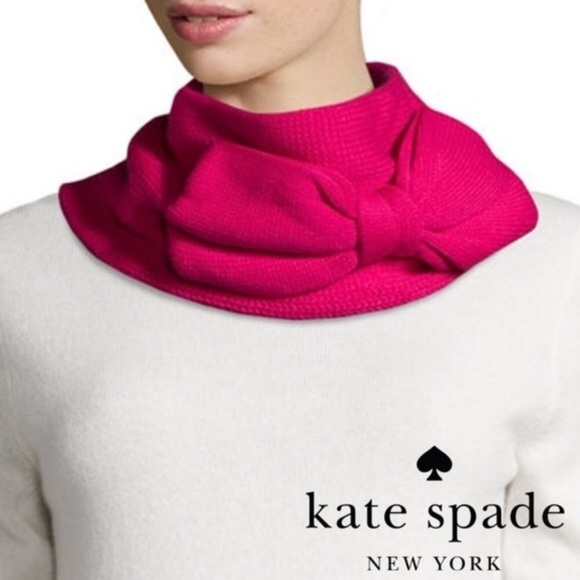 Authentic Kate Spade New York Black Gathered Bow Infinity Neck Warmer Scarf NWT